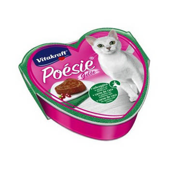 VITAKRAFT CAT  POESIE + SELVAGGINA IN GELATINA CON MIRTILLI ROSSI VASCHETTA 85G