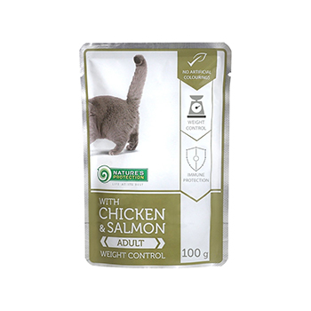 NATURE'S PROTECTION WEIGHT CONTROL, COMPLETE PET FOOD WITH CHICKEN AND SALMON FOR ADULT CATS 100 G