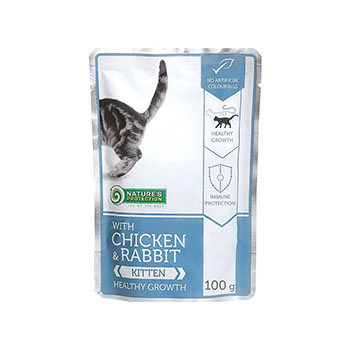 NATURE'S PROTECTION KITTEN, COMPLETE PET FOOD WITH CHICKEN AND RABBIT FOR KITTENS 100 G