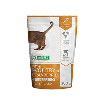 NATURE'S PROTECTION STERILIZED COMPLETE PET FOOD WITH POULTRY AND CRANBERRIES FOR STERILIZED CATS 100 G.