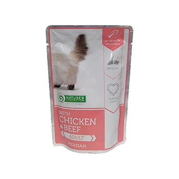 NATURE'S PROTECTION LONG HAIR COMPLETE PET FOOD WITH CHICKEN AND BEEF 100 G
