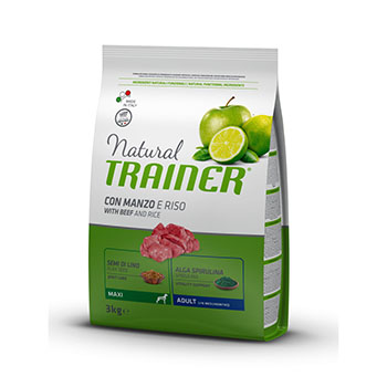 TRAINER NATURAL DOG ADULT MAXI MANZO,RISO E GINSENG 12,5Kg
