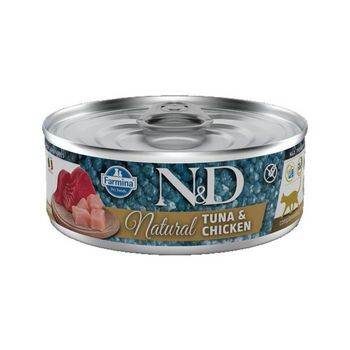 N&D CAT NATURAL TONNO E POLLO LATTINA 80g