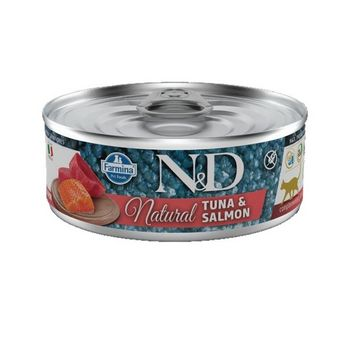 N&D CAT NATURAL TONNO E SALMONE LATTINA 80g