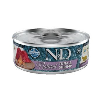N&D CAT NATURAL TONNO E GAMBERETTI LATTINA 80g