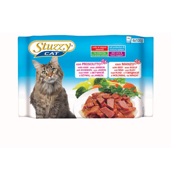 MULTIPACK STUZZY CAT BUSTE  PROSCIUTTO/MANZO 4X100g
