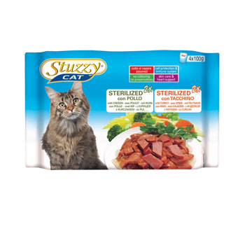 MULTIPACK STUZZY CAT BUSTE STERILIZED POLLO/TACCHINO 4X100g