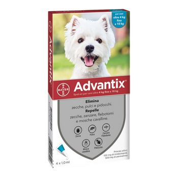 ADVANTIX SPOT ON PER CANI DA 4 A 10 KG 4 PIPETTE