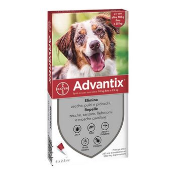 ADVANTIX SPOT ON PER CANI DA 10 A 25 KG 4 PIPETTE